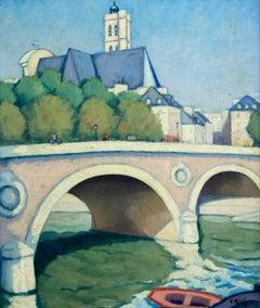 Pont Louis Philippe - Paris - Post Impressionist Oil, River Cityscape by C Kluge