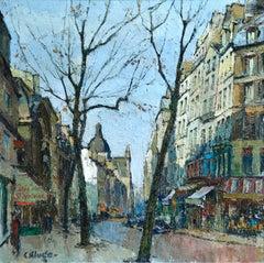Rue Saint-Antoine - Post Impressionist Oil, Paris Cityscape by Constantin Kluge