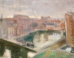 Canal de L'Ourcq - Impressionist Oil, Canal Cityscape by Constantin Kousnetsoff