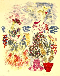 Bridesmaids with Flowers - Original Lithograph by C. Terechkovitch