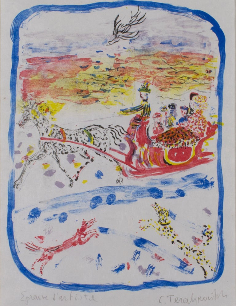 """""""Circus"""" is an original color lithograph on japon nacre paper by Constantin Terechkovitch. The artist signed the piece lower right, and wrote the edition  (EA) in the lower left. This piece depicts circus animals and performers in the three primary"""