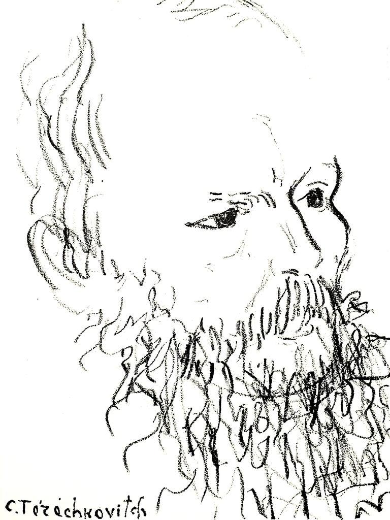 Constantin Terechkovitch - Portrait - Original Lithograph - White Abstract Print by Constantin Terechkovitch