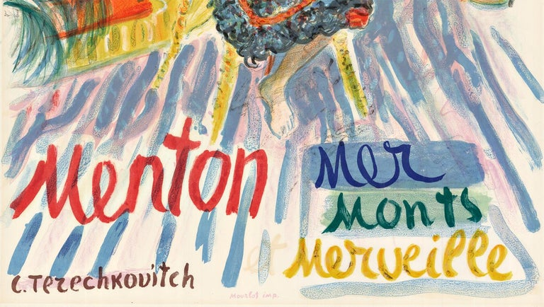 Menton, France original vintage French tourist vintage poster - Abstract Expressionist Print by Constantin Terechkovitch