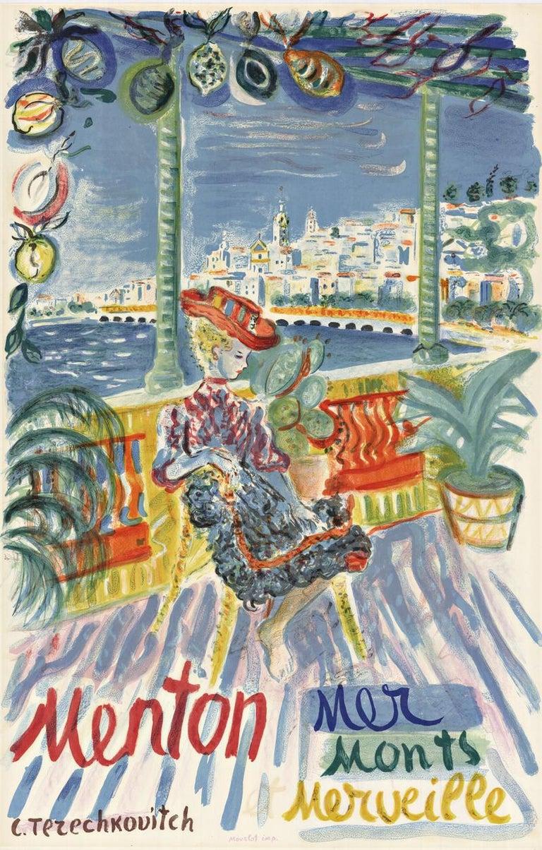 Constantin Terechkovitch Landscape Print - Menton, France original vintage French tourist vintage poster
