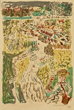 People in a Landscape - Original Lithograph by C. Terechkovitch