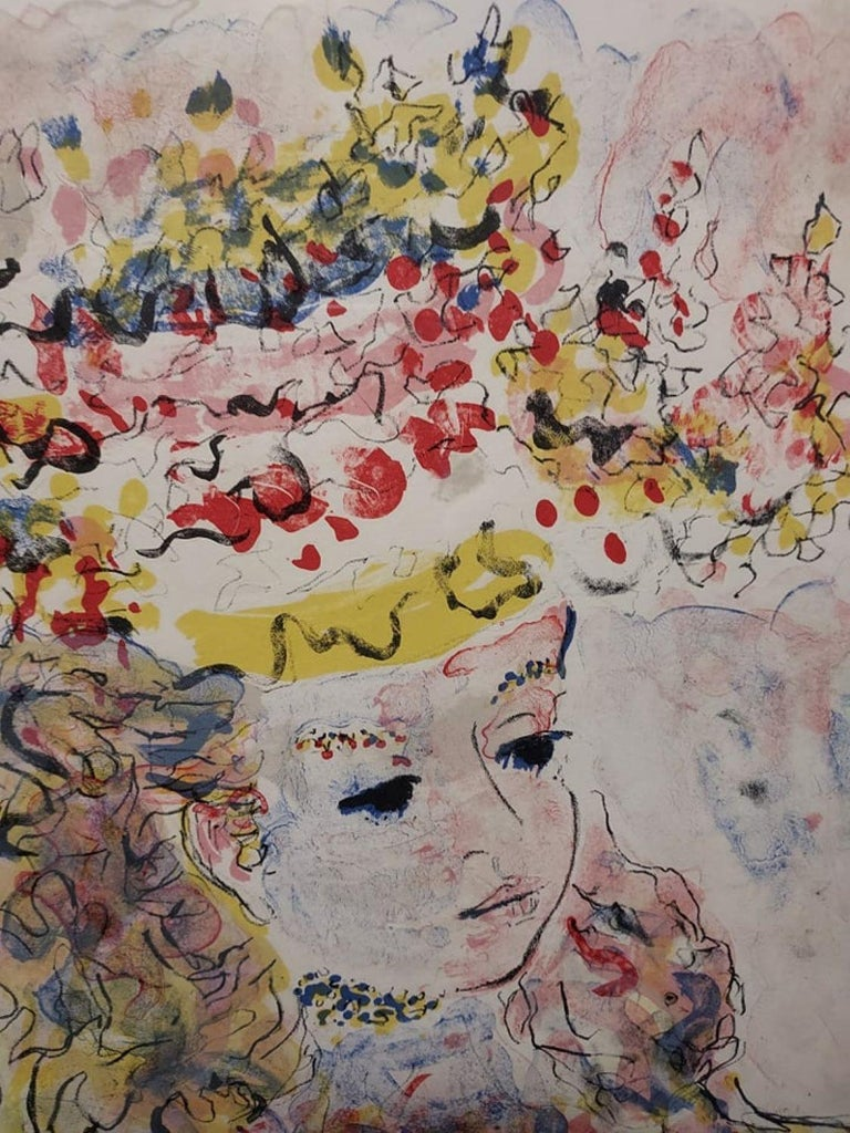 Young Lady with a hat  After Constantin Terechkovitch  - Expressionist Print by Constantin Terechkovitch