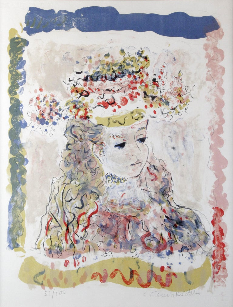 Young Lady with a hat  After Constantin Terechkovitch  - Print by Constantin Terechkovitch