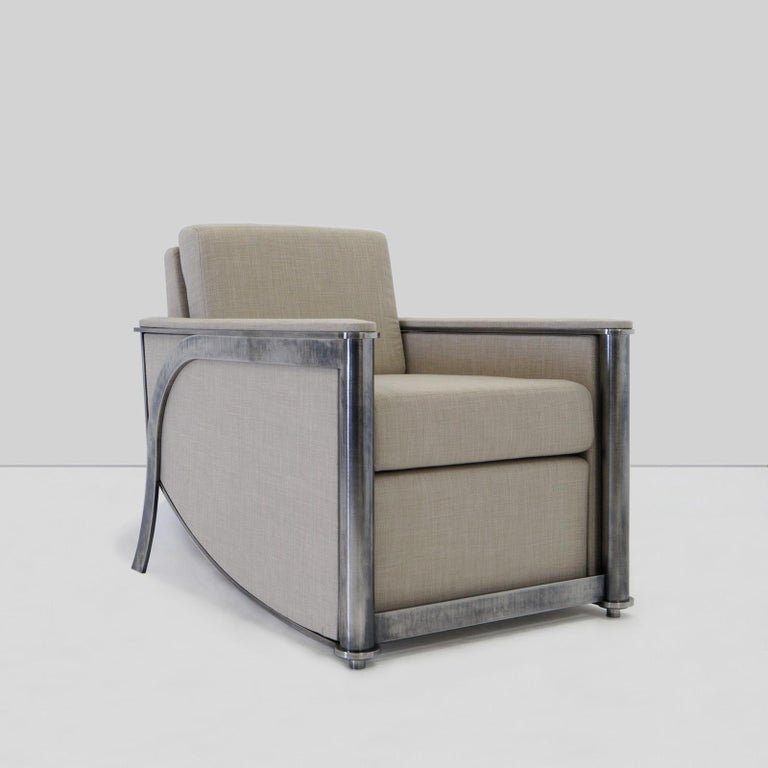 American Constantine Club Chair with Leather Upholstered Back and Seat by Mark Zeff For Sale