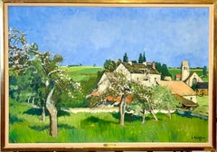 Large Modernist Fauvist Oil Painting Constantin Kluge French Countryside Blooms