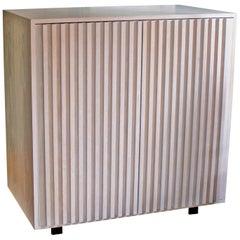Constantine Oak Storage Cabinet with Slatted Doors in Silver/Grey Finish