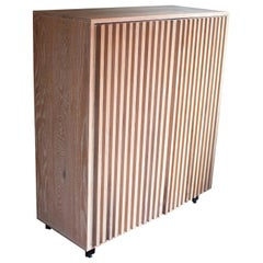 Constantine Solid Oak Cabinet with Slatted Doors in White Finish
