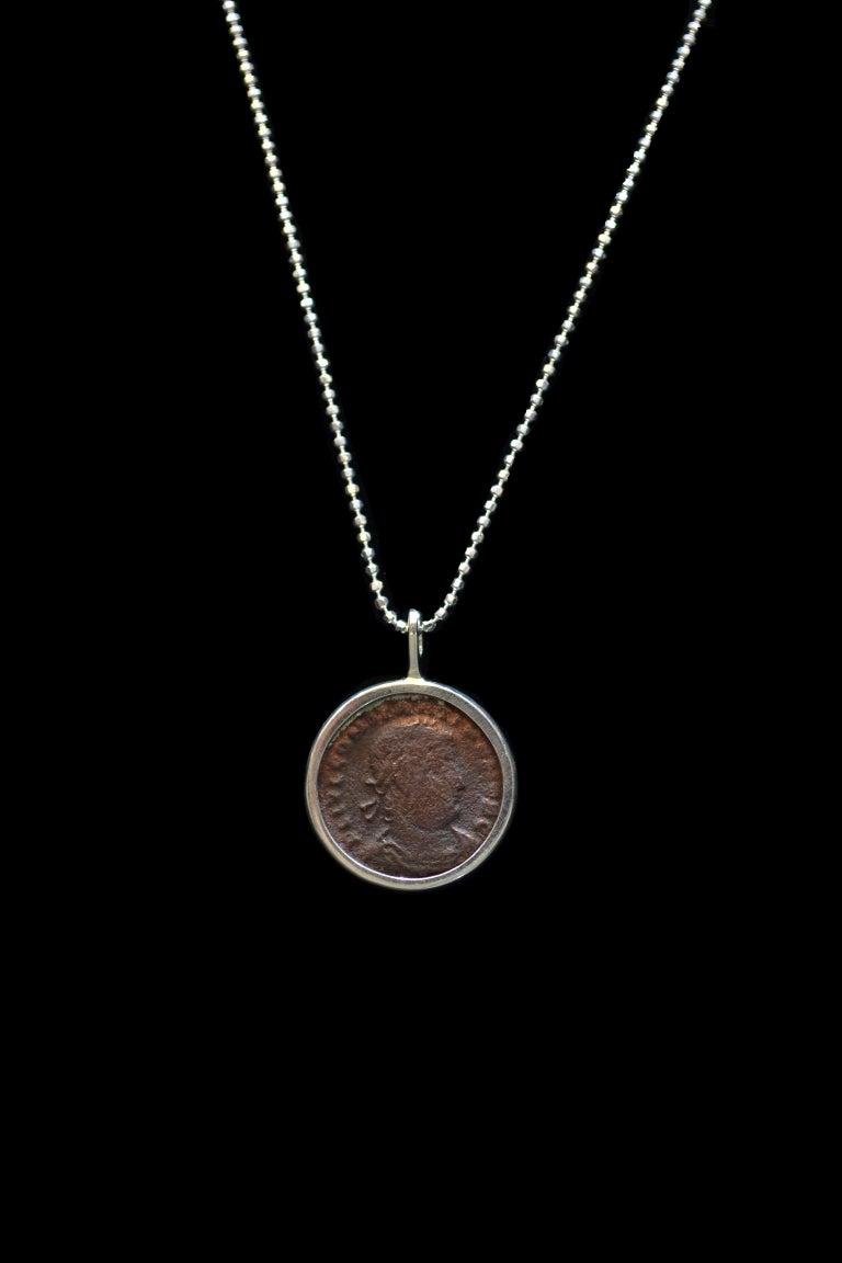 Contemporary Constantius II Coin Silver Necklace For Sale