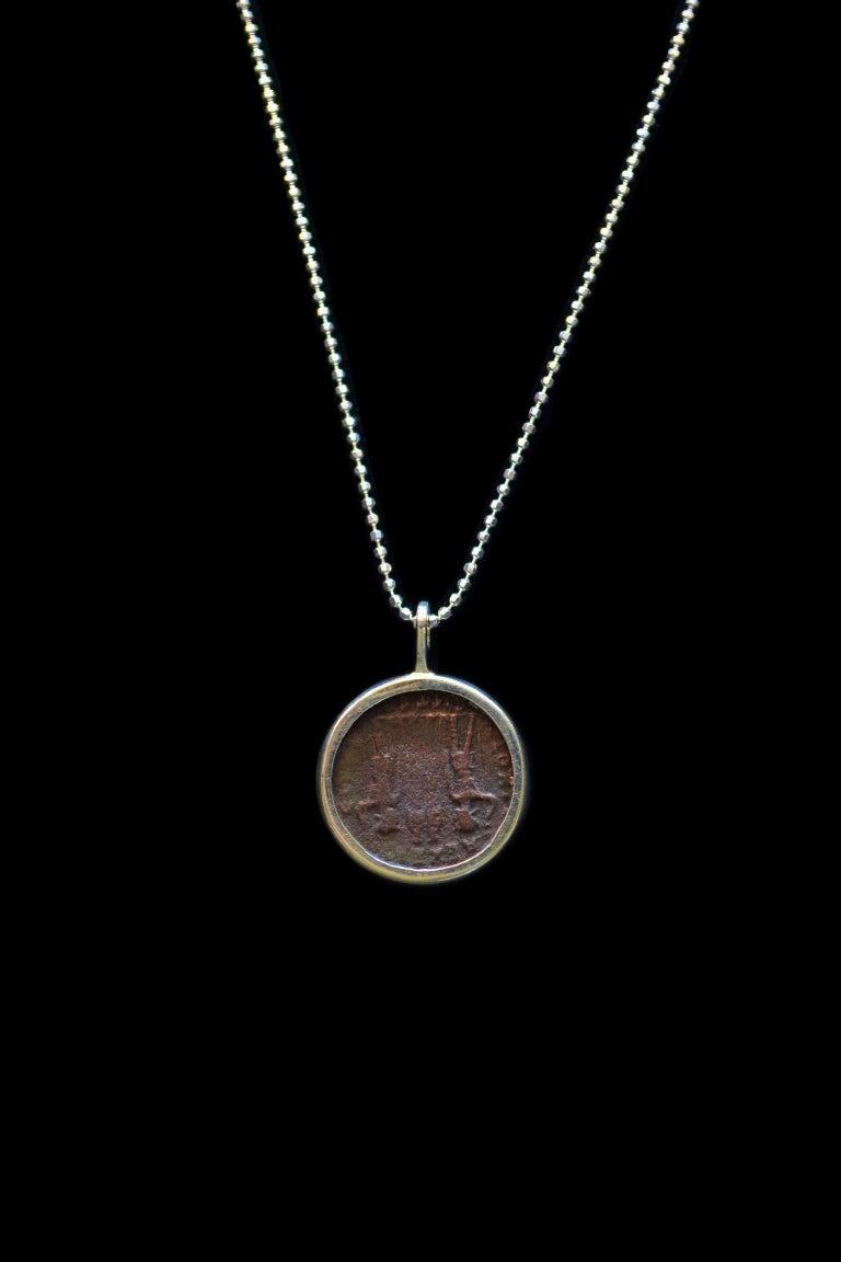 Constantius II Coin Silver Necklace In Excellent Condition For Sale In Nuevo Leon, MX