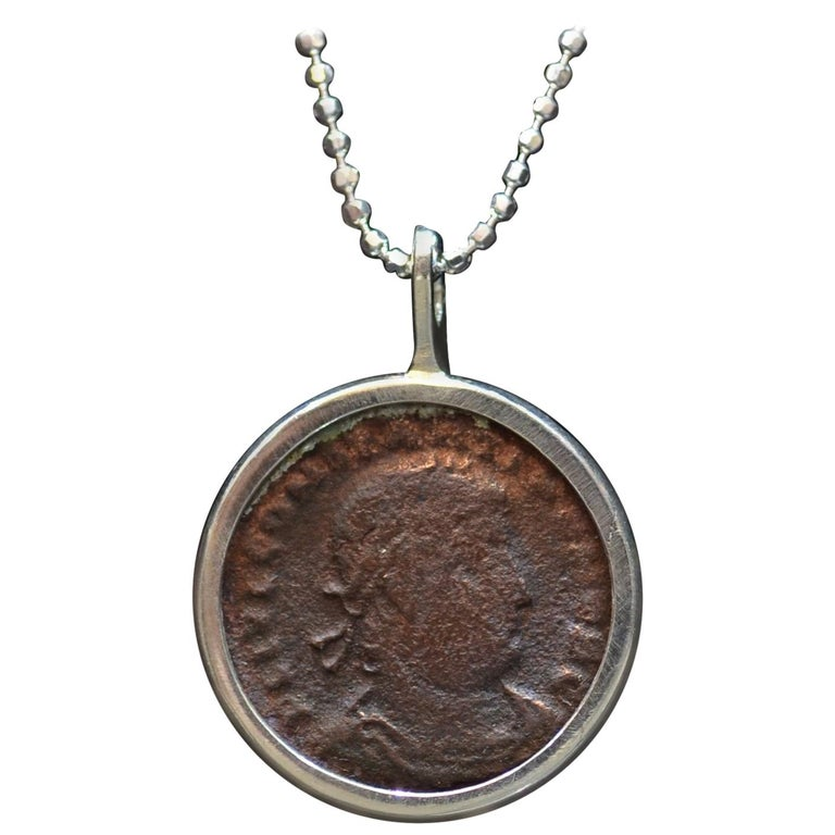 Constantius II Coin Silver Necklace For Sale