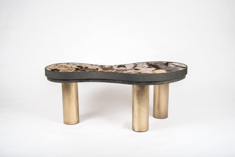 Art Deco Constellation Coffee Table in Black Shagreen, Quartz and Brass by Kifu Paris For Sale