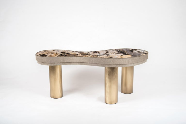 French Constellation Coffee Table in Black Shagreen, Quartz and Brass by Kifu Paris For Sale