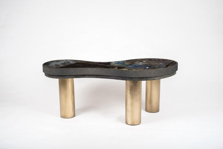 Constellation Coffee Table in Black Shagreen, Quartz and Brass by Kifu Paris In New Condition For Sale In New York, NY