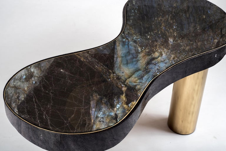 Contemporary Constellation Coffee Table in Black Shagreen, Quartz and Brass by Kifu Paris For Sale