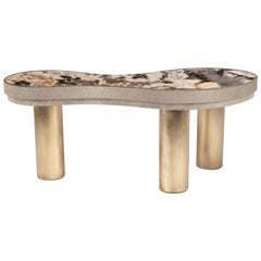Constellation Coffee Table in Cream Shagreen, Patagonia and Brass by Kifu Paris