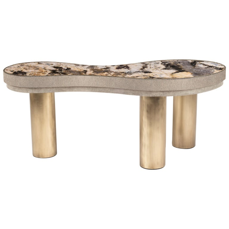 Constellation Coffee Table in Cream Shagreen, Patagonia and Brass by Kifu Paris For Sale