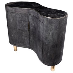 Constellation Commode in Black Quartz, Black Shagreen and Brass by Kifu, Paris