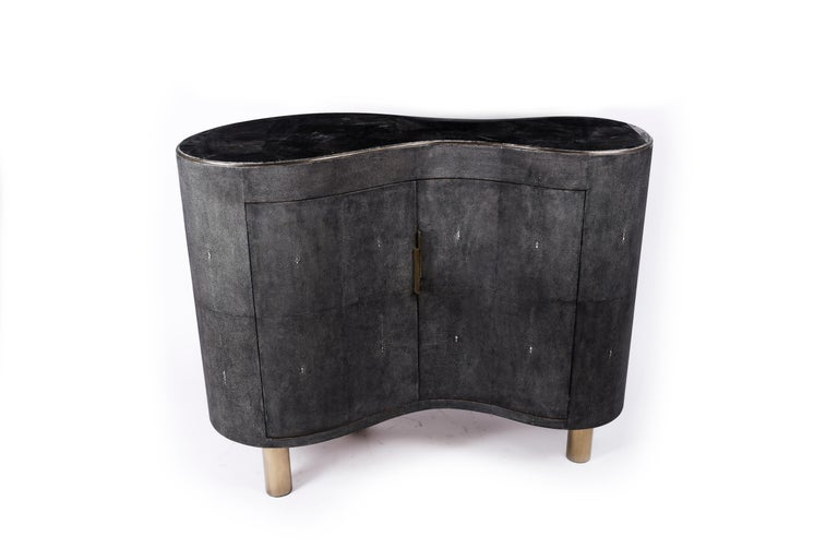 French Constellation Commode in Black Quartz, Black Shagreen & Brass by Kifu Paris For Sale