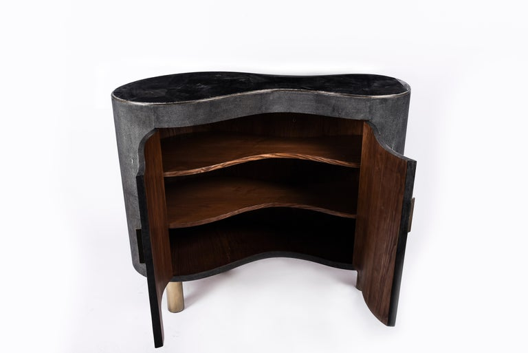 Hand-Crafted Constellation Commode in Black Quartz, Black Shagreen & Brass by Kifu Paris For Sale