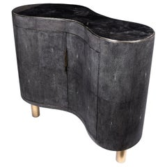 Constellation Commode in Black Quartz, Black Shagreen & Brass by Kifu Paris