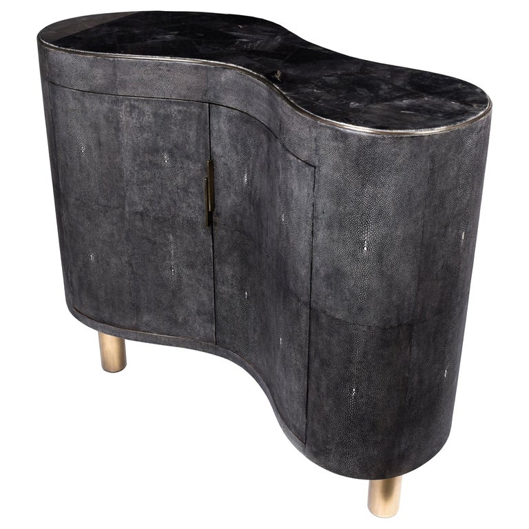 Constellation Commode in Black Quartz, Black Shagreen & Brass by Kifu Paris For Sale
