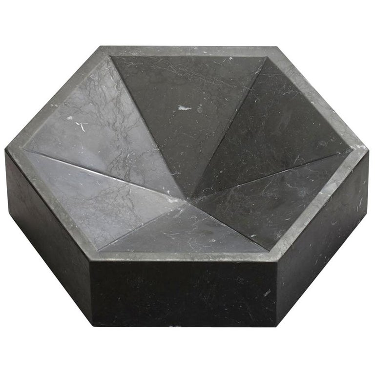 Constellation Marble Bowl, Small Low in Nero Marquina Marble, in Stock For Sale