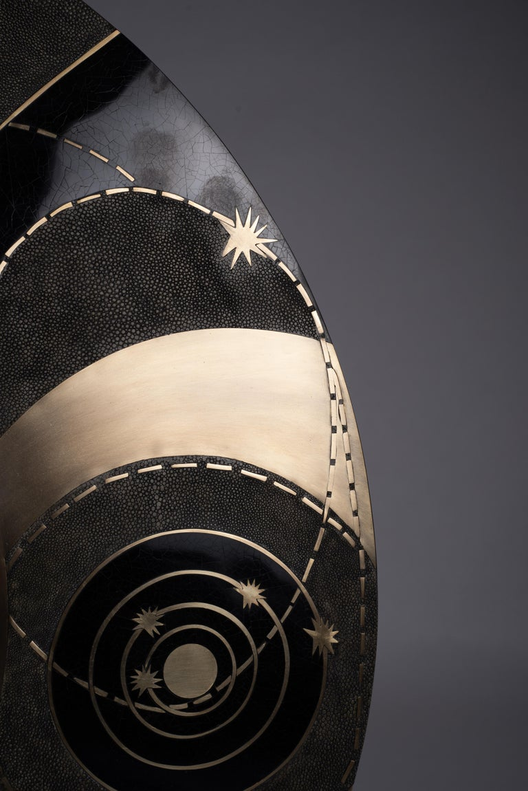 Art Deco Constellation Mirror in Black Shagreen Shell & Bronze-Patina Brass by Kifu Paris For Sale