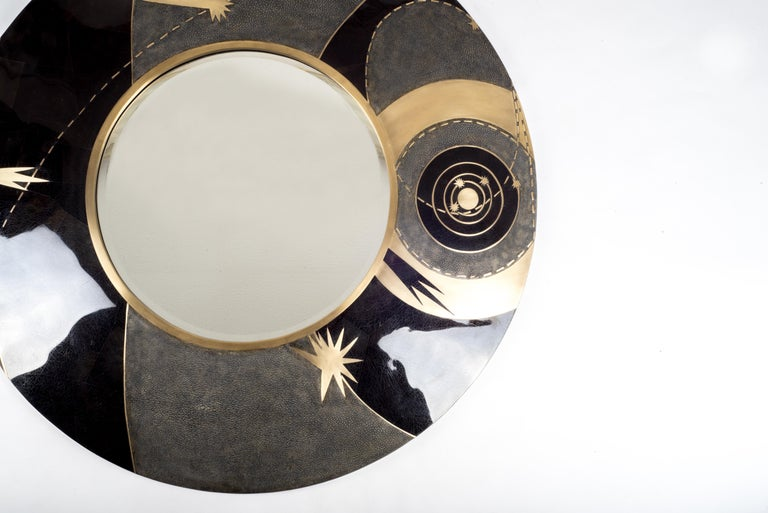French Constellation Mirror in Black Shagreen Shell & Bronze-Patina Brass by Kifu Paris For Sale