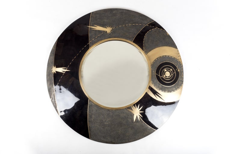 French Constellation Mirror in Cream Shagreen Shell & Bronze-Patina Brass by Kifu Paris For Sale