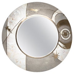 Constellation Mirror in Cream Shagreen Shell & Bronze-Patina Brass by Kifu Paris