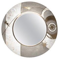 Constellation Mirror in Cream Shagreen Shell & Bronze-Patina Brass by Kifu Paris