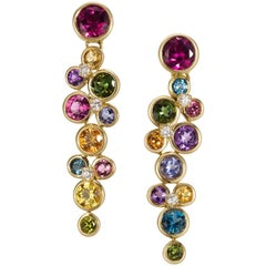 Constellation Multi-Color Gemstone and Diamond Dangle Earrings