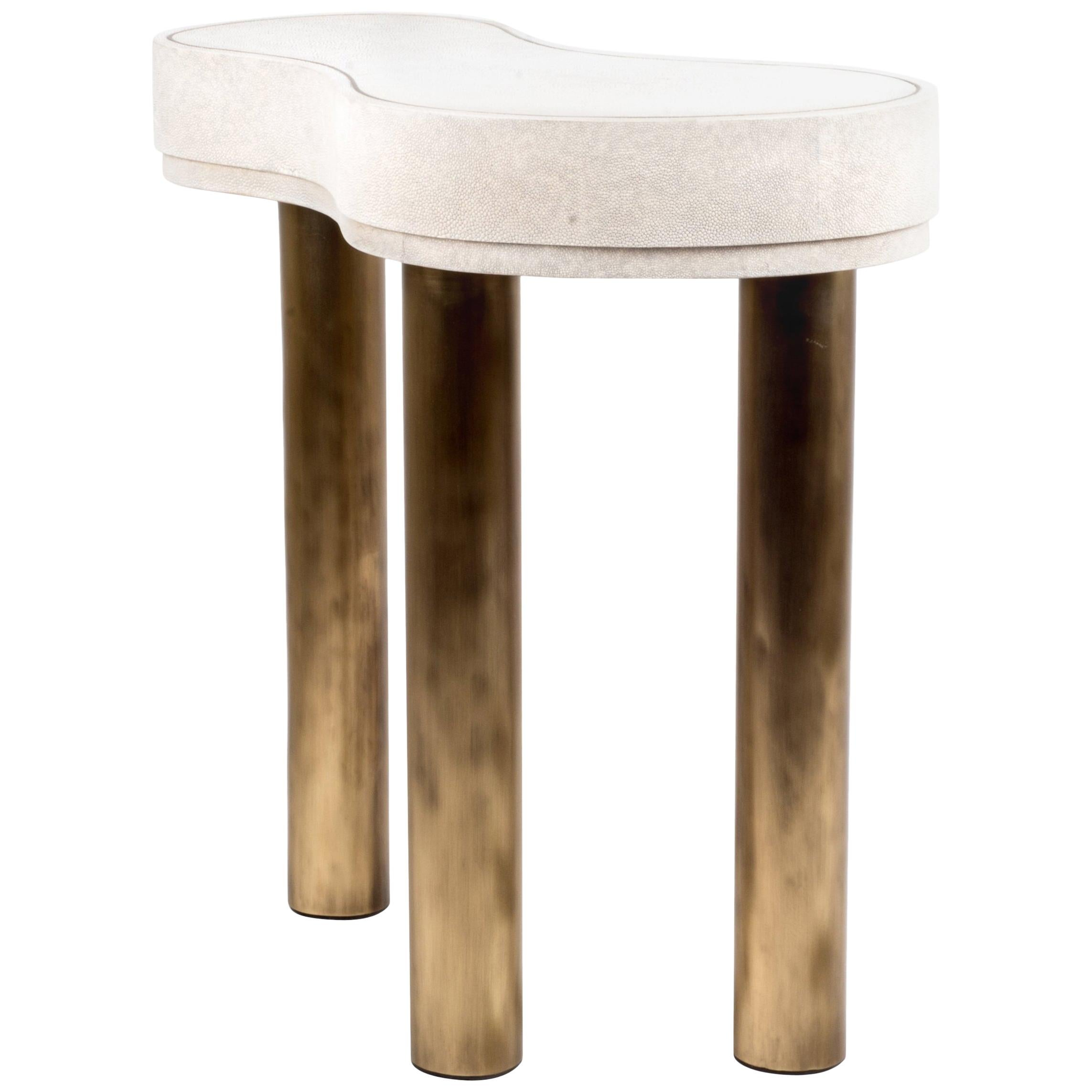 Constellation Side Table in Cream Shagreen and Bronze-Patina Brass by Kifu Paris