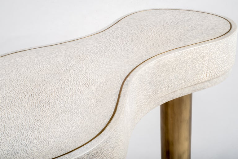 French Constellation Side Table in Cream Shagreen and Bronze-Patina Brass by Kifu Paris For Sale