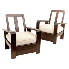 Constructivism Armchairs, circa 1950, with White Peluche Fabric, in Brown Wood