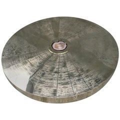 """Constructivism Art """"Star Trek"""" Coffee Table Acid Etched Brass and Rare Agate"""