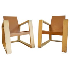 Constructivist Bauhaus Style Hungarian Set of 2 Armchairs and Table, 1920s