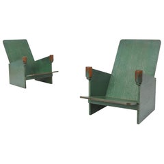 Constructivist Green Lounge Chairs by Hosts & Maes