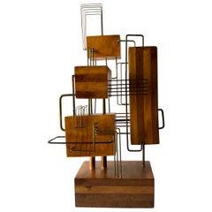 Constructivist Laminated Wood Copper Wire Handmade Studio Sculpture