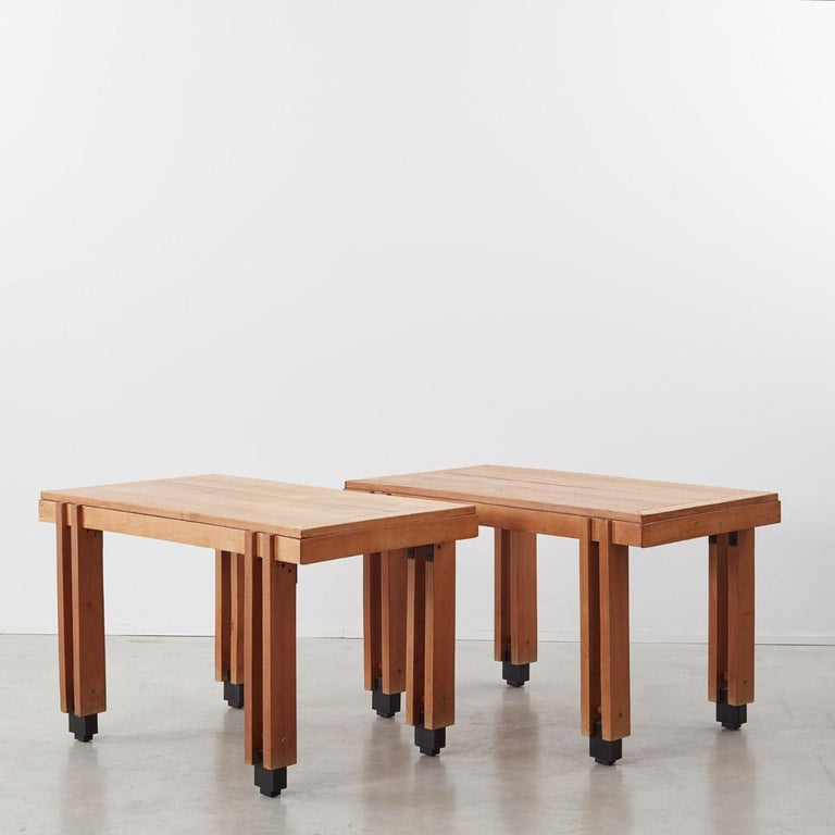 These charming tables – for use as desks or dining – are made from solid wood have a lovely handmade quality to them. They are unmarked and possibly prototypes, with a design aesthetic alluding to the works of renowned Italian architect Carlo Scarpa