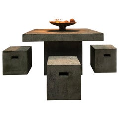 Constructivist Outdoor Granite Table and Stools Set, France, 1980