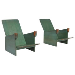 Constructivist Pair of Green Lounge Chairs, Belgium, 1920s