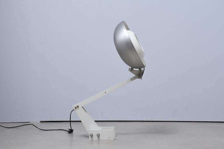 Industrial Constructivist table lamp with brushed aluminium screen, 1960s,  For Sale