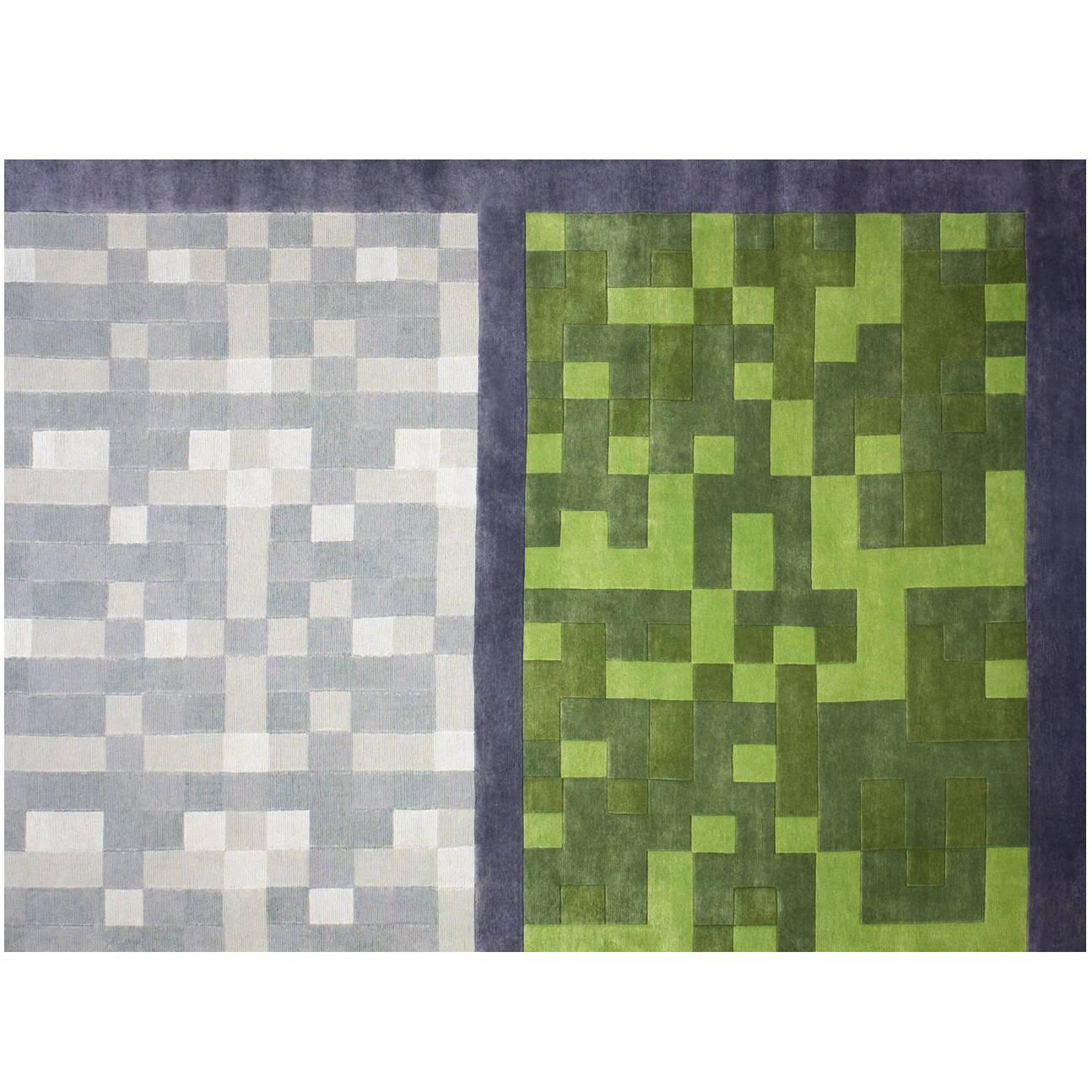 "Contemporary Art Rug ""Construye tu tapete"" in Premium New Zealand Wool and Silk"