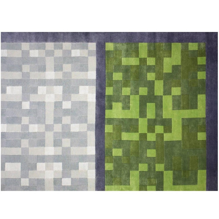 """Contemporary Art Rug """"Construye tu tapete"""" in Premium New Zealand Wool and Silk For Sale"""
