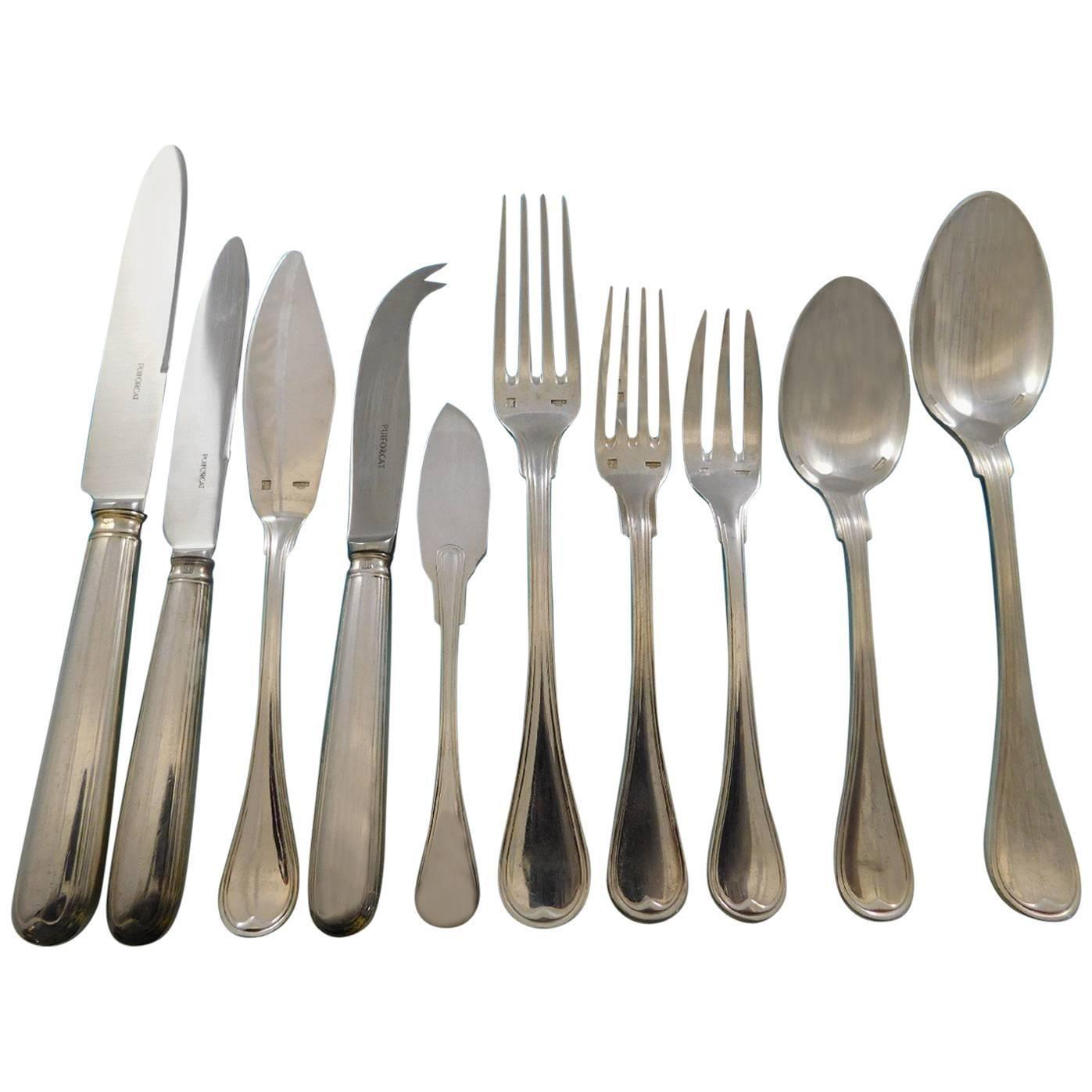 Consulat by Puiforcat France Silverplate Flatware Set Service 117 Pcs Dinner
